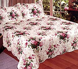 American Hometex Chinese Rose King Quilt Set