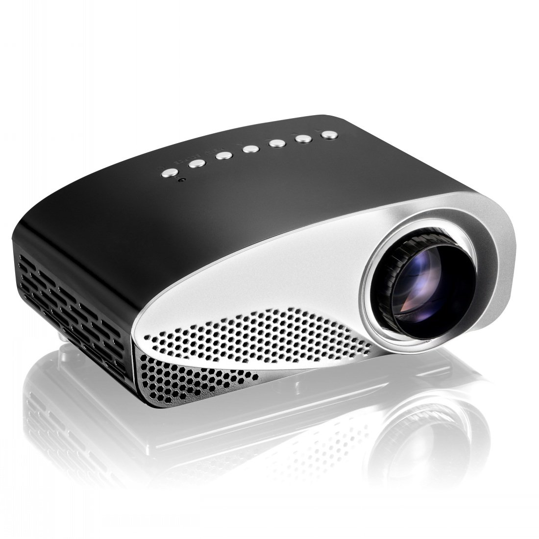 Projector, Syhonic S8 HD LED Mini Portable Multimedia Home Theater Projector Support HDMI USB SD AV VGA TV Interface HD Video Games TV Movie TXT Music Pocket Size Projector (Black)