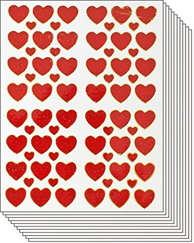 Jazzstick 600 Valentine's day Red Heart Value Pack Decal Stickers 10 sheets A17B - 1