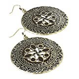 New Burnished Gold Effect Brown Tone Round Earring