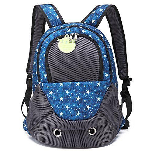 Creation Core Portable Sporty Pet Backpack Breathable Cat Dog Carrier Bag Front Backpack with Zippered Window, Blue