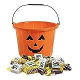 Candy-Filled Halloween Orange Jack-O-Lantern Pumpkin Bucket with 65 Fun-Size Treats including Gluten-Free and Nut-Free Junior Mints, Tootsie Rolls, Dots, and Charleston Chew (38 oz)