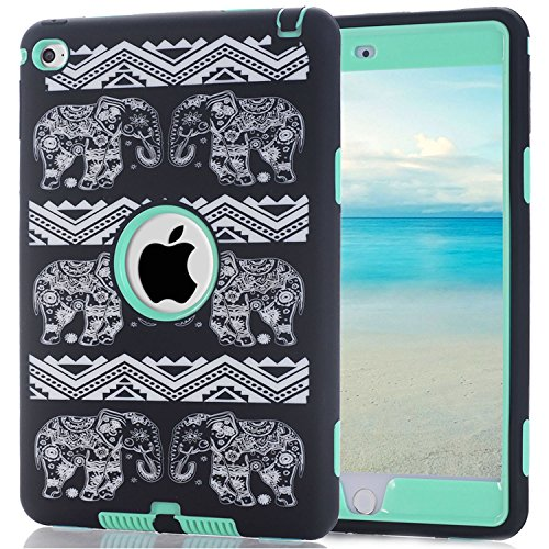 iPad Mini 4 Case, Speedup 3 in 1 Shockproof Hybrid Case Hard Cover PC + Silicone Full Body Protective High Impact Defender Cover For Apple 7.9 inch iPad Mini4 (Elephant / Mint) (Ipod Touch Loop Space Gray compare prices)