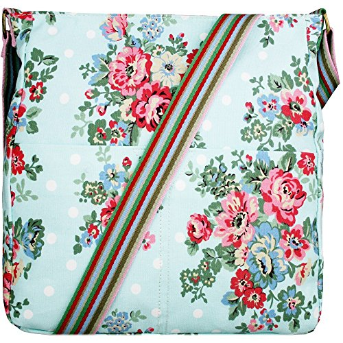 Womens Girls Polka Dot Floral Print Slouchy Crossbody Shoulder Bag