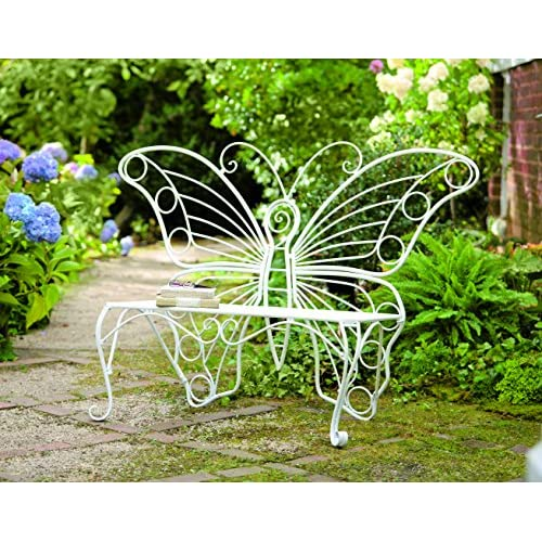 Plow & Hearth Weather-Resistant Butterfly Garden Bench, Metal - White