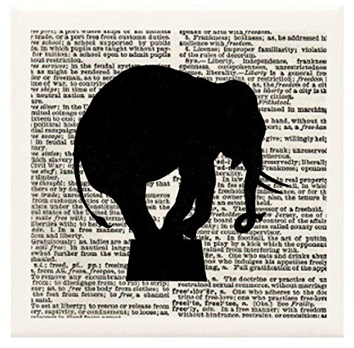"""Hand Made Coasters [Set Of 4] - Circus/Animal """"Circus Elephant In Silhouette"""" Artwork Combines With Vintage Dictionary Pages, Ceramic Tiles And Specialty Materials To Create These Coasters From Our Design Collection - A Stylish And Chic Way To Add A Uniqu front-126853"""