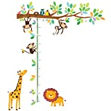 Decowall DW-1402 Little Monkeys Tree and Animals Height Chart Kids Wall Decals Wall Stickers Peel and Stick Removable Wall Stickers for Kids Nursery Bedroom Living Room (Color: Multicolor, Tamaño: DW-1402)