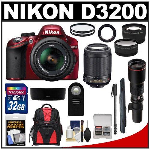 Nikon D3200 Digital Slr Camera & 18-55Mm G Vr Dx Af-S Zoom Lens (Red) With 55-200Mm Vr & 500Mm Tele Lens + 32Gb Card + Monopod + Backpack + Telephoto & Wide-Angle Lenses + Accessory Kit