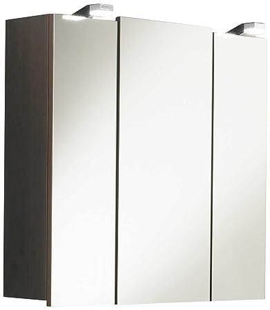 Posseik 5428 67 - Mobiletto da bagno con specchio, colore: wengè