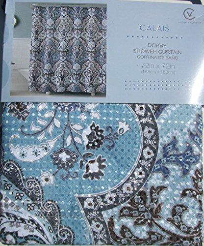 New Calais Dobby Silver Teal Aqua Blue Gray Brown Paisley Fabric Shower Curtain Ebay