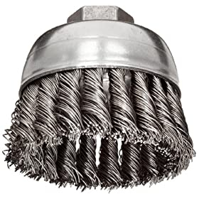 Weiler Wire Cup Brush, Threaded Hole, Stainless Steel 302, Partial Twist Knotted