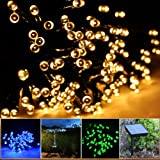 Lychee Solar Powered String Light 55ft 17m 100 LED Solar Fairy Light String For Garden,Outdoor,Home,Christmas Party Decoration (Warm White)