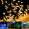 Lychee® colour Solar Christmas String 55ft Solar Fairy String Lights for Outdoor Room Home Garden Christmas Party Decoration Waterproof (Warm White, 17m 100Leds)