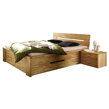Bett Einzelbett Holzbett Roros 140 x 200 cm, 2 Schubladen, Massivholz Holz Wildeiche massiv geölt, Breite 150 cm, Tiefe 215 cm, Höhe 84 cm