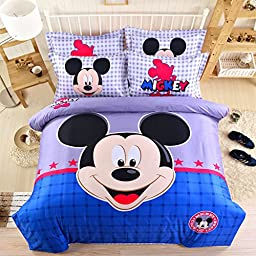USpiece Cartoon Children Disney Mickey Mouse F Printed Bed Quilt Cover 3PCS Bedding Set Duvet Cover Twin