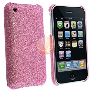 eForCity Durable Glitter Pink Feel Slim Fit Back Cover Case for Apple Iphone 3Gs 3G S, 3G Smartphone