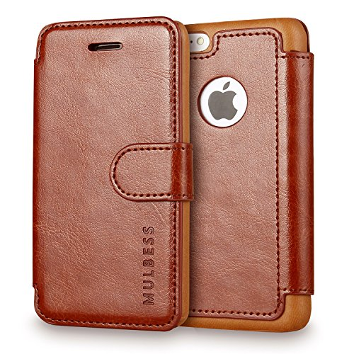 Custodia Per iPhone 5C - Mulbess Custodia In Pelle Con Wallet Case Cover Per Apple iPhone 5C - Coffee Marrone [Credit Card Slot Vintage Series]