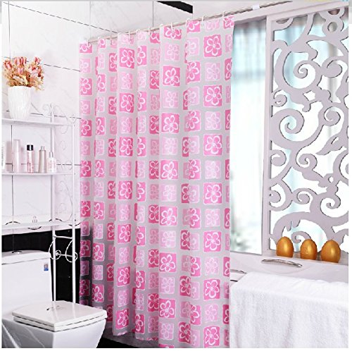 High Grade Pink Thickened PEVA Shower Curtain With Flora Pattern Fashion Bathroom Accessory Waterproof And Mildewproof Curtian 72 X 80 Inches 180