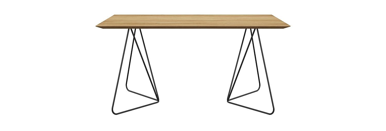 Miloni Schreibtisch FLY, 160x80x76 cm Eichen / Massivholz nicht ausziehbar, Massivholz, Eichenholz, holzfarbe natur