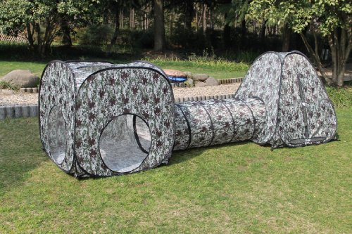 Kids Camouflage Pop Up Play Tent set with Tunnel, Play Ground, Room, New Child Play Hut. Inside - Outside.