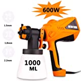 Paint Sprayer Voluker 600 Watt High Power HVLP Home Electric Spray Gun Three Spray Patterns 3 Nozzle Sizes 1000 ml Detachable Container (Color: Orange)