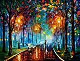 XM Art-Romantic Moonlight After The Rain 100% Hand-painted Passion Color High Q. Home Decoration Modern Abstract Best-selling Oil Painting on Canvas No Framed And Unstretch