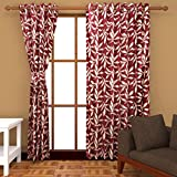 Ab home decor Polyester Door Curtains (Set of 2)- 7 Feet x 4 Feet,Maroon