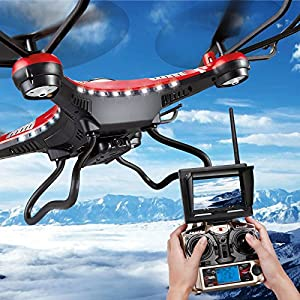 RC Quadcopter, Potensic Premium JJRC H8D RTF RC Quadcopter with 2 Megapixels Camera, 5.8 GHz FPV Monitor LCD, Drone Carrying Case