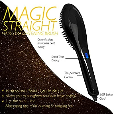 Magic-Straight Salon Grade Professional Hair Straightening Brush with Variable Temperature Control, Anti Frizz, Anti Scald, Anion, Detangling, Digital Display and Ceramic heating Plates