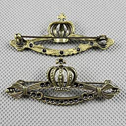 30 PCS Jewelry Making Charms Findings Supply Supplies Crafting Lots Bulk Wholesale Antique Bronze Tone Plated 24293 Crown Safety Pins Brooch