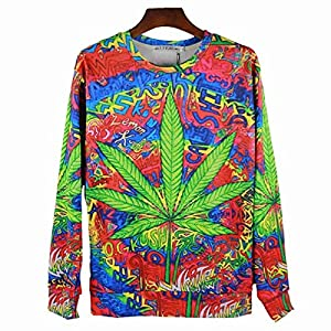 Hip Hop Long-Sleeve Multi-Color Graffiti Green Weed iPrint Design Pattern High-Fashion T-Shirt (XL, Multi-Color Graffiti Green/Weed)