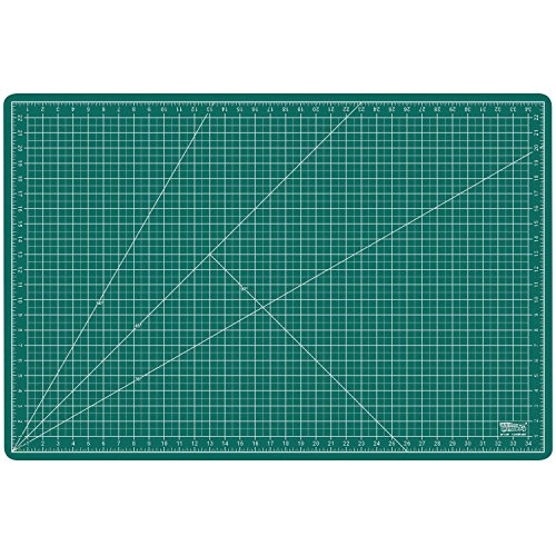 US Art Supply 24 x 36 inch GREEN/BLACK Professional Self Healing 5-Ply Double Sided Durable Non-Slip PVC Cutting Mat Great