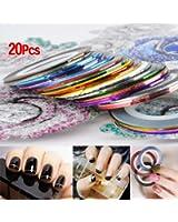 SODIAL(R) 20 pcs nail Striping Tape Tips DšŠcoration Sticker manucure Autocollant couleur alšŠatoire