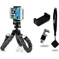 CamRah Flexible Tripod Pro Series with Bluetooth Shutter Remote and Dual Phone Mounts