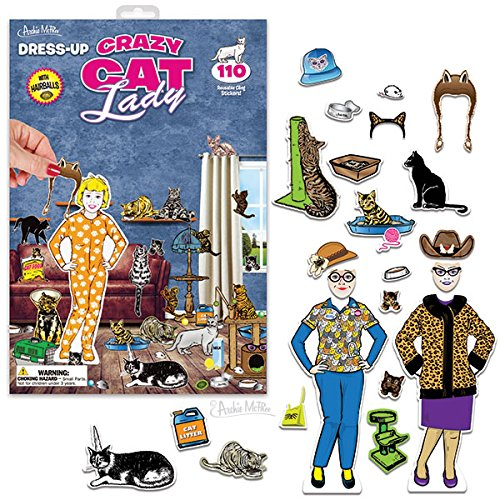 Dress-Up Crazy Cat Lady 110 Reusable Cling Stickers (Crazy Cat Lady Game compare prices)