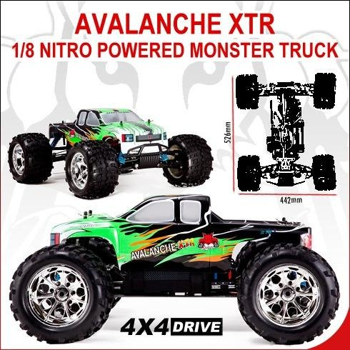 Avalanche XTR 1/8 Scale Nitro Monster Truck-White & Green Model
