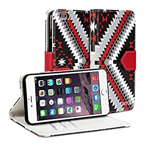iPhone 6 Plus Case, iPhone 6 Plus Wallet Case, GMYLE Wallet Case Arrow (Tribal pattern) for iPhone 6 (5.5 inch Display) - Ethnic PU Leather Slim Stand Case Cover