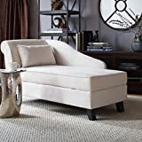 Castleton Home Storage Chaise Lounge Modern Long Chair Couch Sofa Furniture for Foyer Hall Lobby Entry or Living Room (Khaki)
