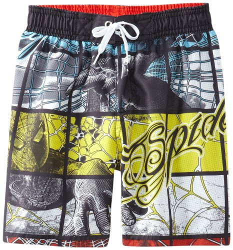 Marvel Little Boys' Spider-Man Grid-Print Swim Trunk