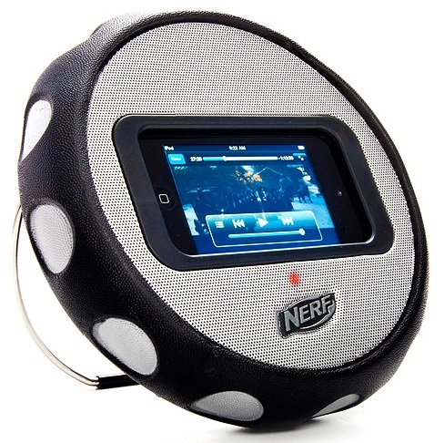 Hasbro NERF Multimedia Wheel Speaker for all MP3, MP4 Players and all iPhone & iPod Touch Motion Sensing Games - with Extra Durable Padded Impact Protection, Comfortable Rubberized Non-Slip-Grip and Headphone Jack