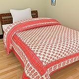 Rajkruti jaipuri razai / rajai single bed cotton rajasthani sanganeri floral print quilt blanket (60 Inches x 90 Inches,QT001)