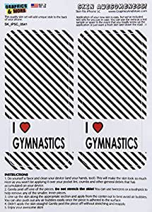 Graphics and More I Love Heart Gymnastics Protective Skin Sticker Case for Apple iPhone 5C - Set of 2 - Non-Retail Packaging - Opaque