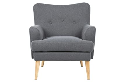 Lounger Chair Retro 78x 32 x 84Fabric Upholstered Chair with Armrests Grey Scandinavian Design Padded Chair Vintage