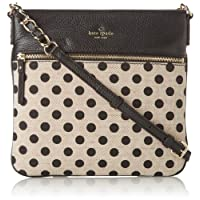 kate spade new york Cobble Hill Canvas Dot Ellen Cross Body Bag,Black/White,One Size