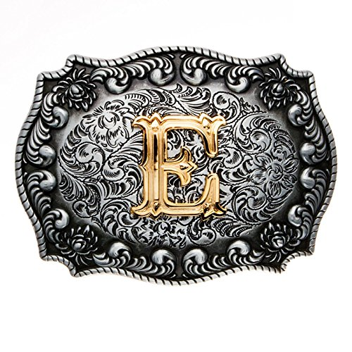 Fibbia per Cintura con Lettera E in 3D, con Rivestimento in Vero Oro, Modello Western