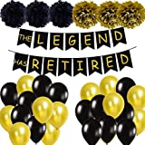 Happy Retirement Party Decorations- THE LEGEND HAS RETIRED Banner, Tissue Pom Poms, Latex Balloons for Retirement Party Supplies (Color: Black and Gold colour mix)
