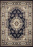 Traditional Oriental Medallion Area Rug Persian Style Carpet Runner Mat (2' x 3', Navy Blue)