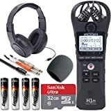 Zoom H1n Handy Recorder + On Stage Windscreen + SanDisk Ultra 32GB Card + Cable + Samson Headphones + Energizer AAA Batteries (Black) (Color: Black)