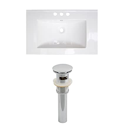 "Jade Bath JB-15501 32"" W x 18"" D Ceramic Top Set and Drain, White"