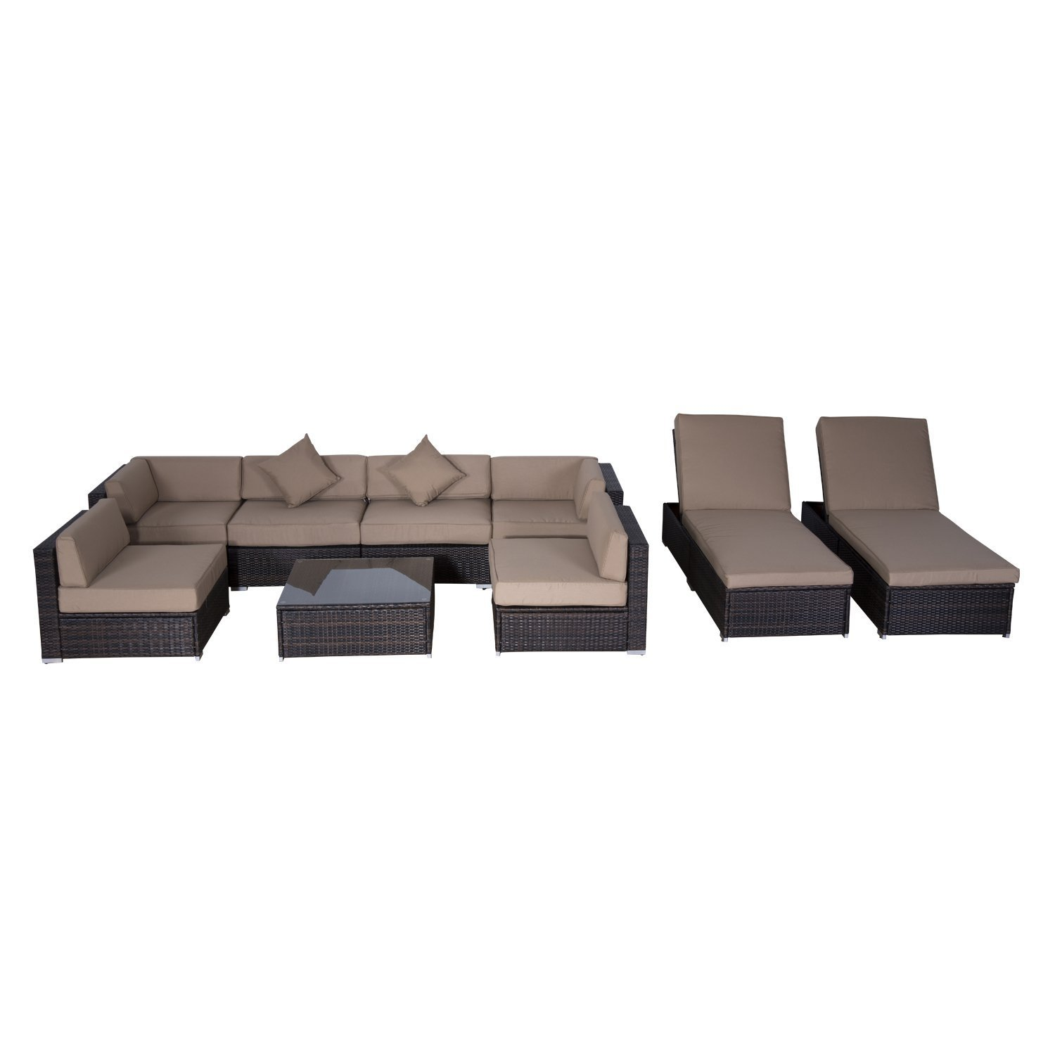 wicker patio furniture set outdoor sofa sectional chaise. Black Bedroom Furniture Sets. Home Design Ideas